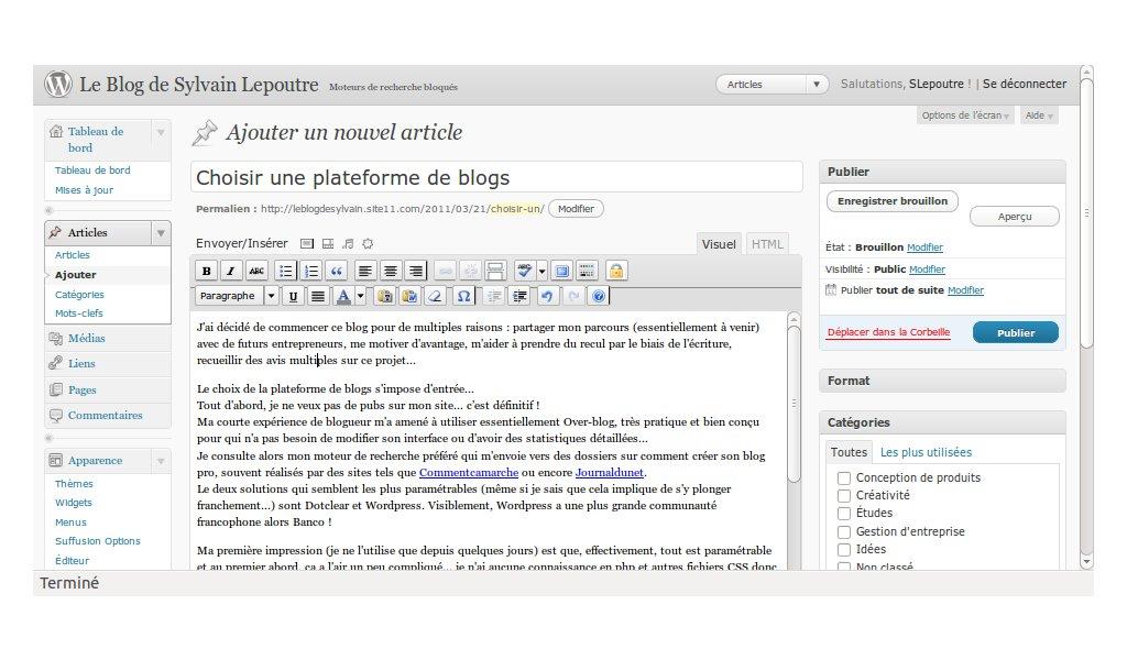 Capture d'écran de mon interface WordPress